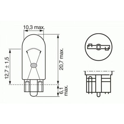 Лампа 12V 5W W2,1*9,5d повторителя поворота