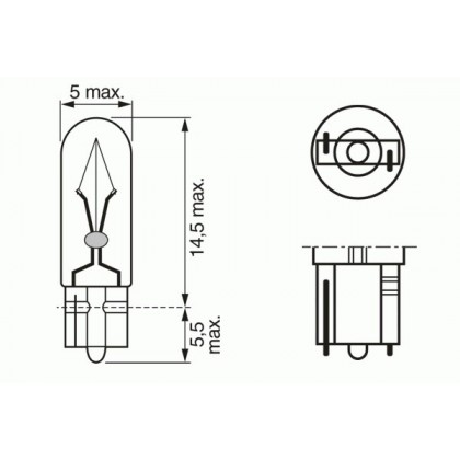 Лампа 12V 2.3W W2*4,6d