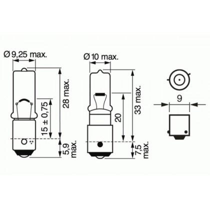Лампа 12V 6W BAX9s габариты