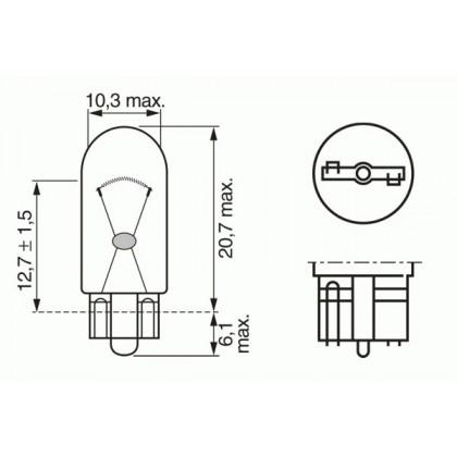 Лампа 12V 3W W2,1*9,5d