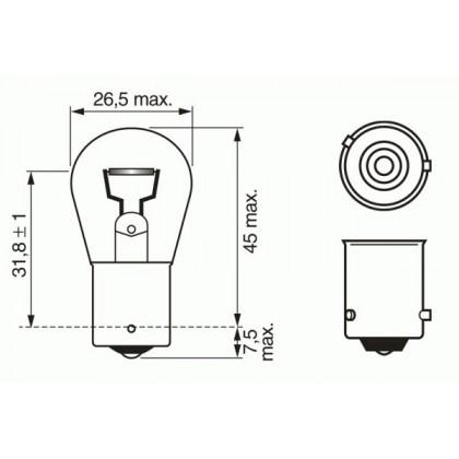 Лампа 12V 21W BAU15s желтая